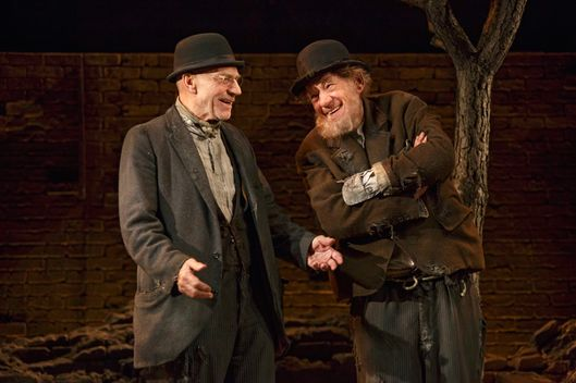 Waiting for Godot Cort Theatre  Cast List: Ian McKellen Patrick Stewart Billy Crudup Shuler Hensley  Production Credits: Sean Mathias (Direction) Stephen Brimson Lewis (Set and Costume Design) Peter Kaczorowski (Lighting Design) Zachary Borovay (Projections)  Other Credits: Written by: Samuel Beckett