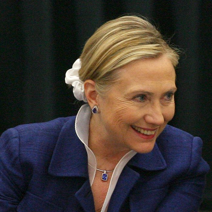 Hillary Clinton and her scrunchie.