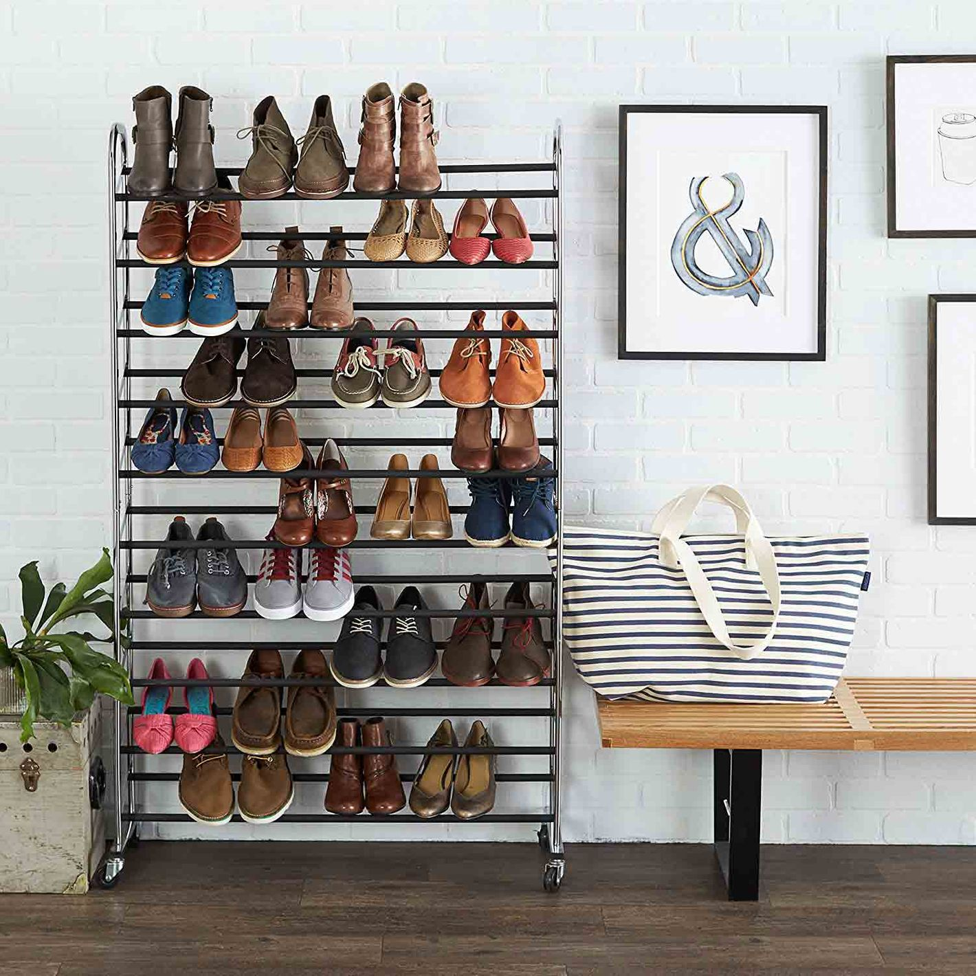 Basics 50 Pair Shoe Rack At