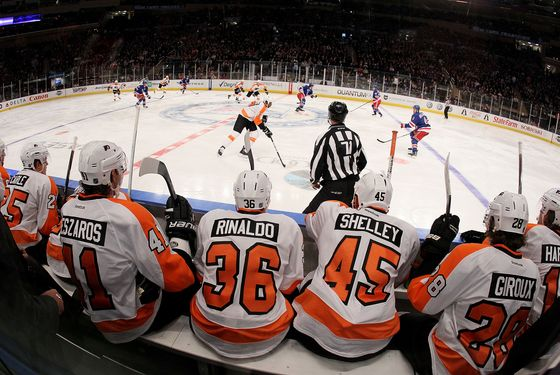 NEW YORK, NY - DECEMBER 23:  The Philadelphia Flyers bench look on as their teammates play against the New York Rangers on December 23, 2011 at Madison Square Garden in New York City.  (Photo by Jim McIsaac/Getty Images)