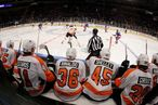 NEW YORK, NY - DECEMBER 23: The Philadelphia Flyers bench.