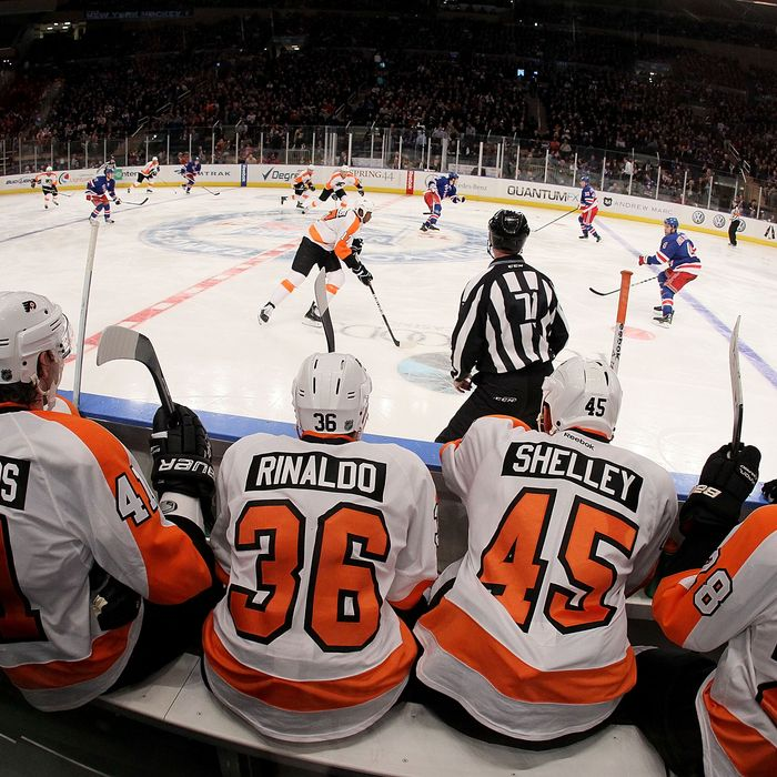 NEW YORK, NY - DECEMBER 23: The Philadelphia Flyers bench.