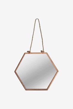 Brown & Ginger Hanging Hexagonal Geometric Mirror