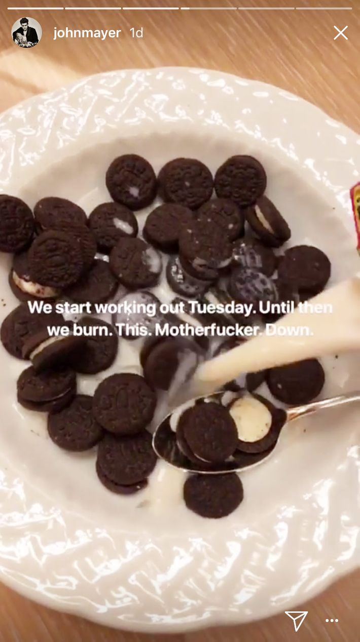 John mayer eats mini oreos like cereal on instagram alas this soon proved to be his downfall i have an upset stomach yes i know its from the mini oreos ive learned a lot from putting cookies in milk freerunsca Image collections