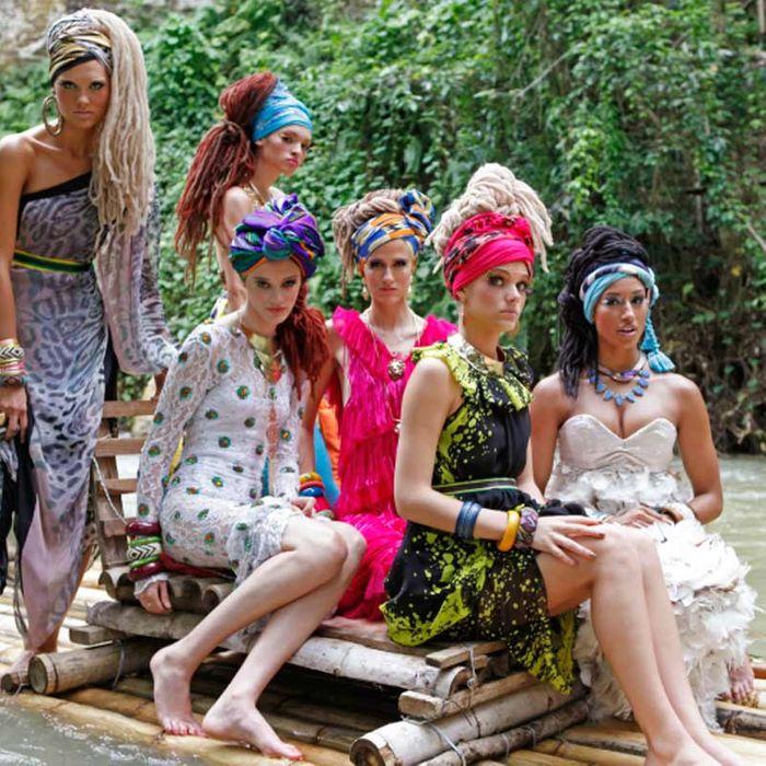 <em>Top Model</em> contestants, pre-waterfall.