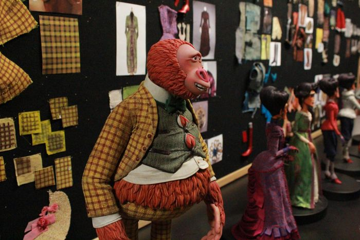 Mr. Link at the LAIKA studio next to fabric samples and other stop-motion puppets.