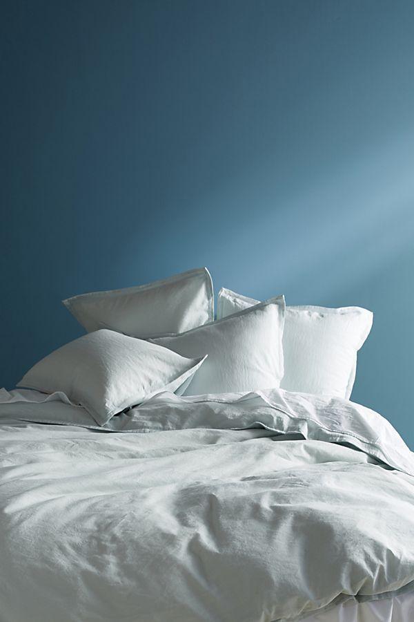 Anthropologie Relaxed Cotton-Linen Duvet Cover, Queen, Light Blue
