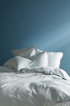 Anthropologie Relaxed Cotton-Linen Duvet Cover, Queen, Light Blue