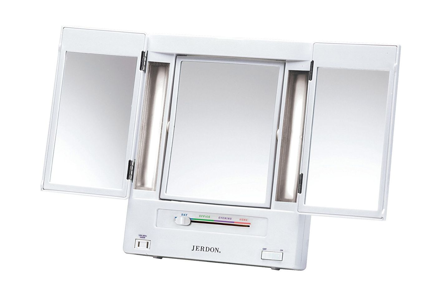 Jerdon Tri Fold Two Sided Lighted Makeup Mirror With 5x Magnification