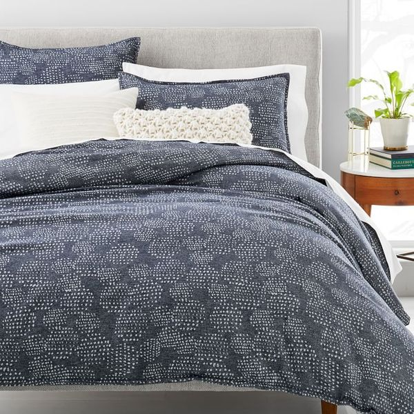 West Elm Organic Flannel Dotted Jacquard Duvet Cover & Shams