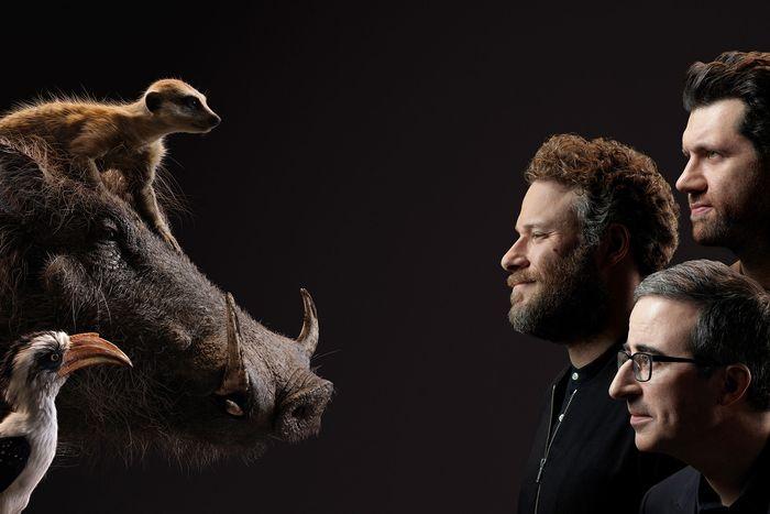 Billy Eichner as Timon, Seth Rogen as Pumbaa, and John Oliver as Zazu.