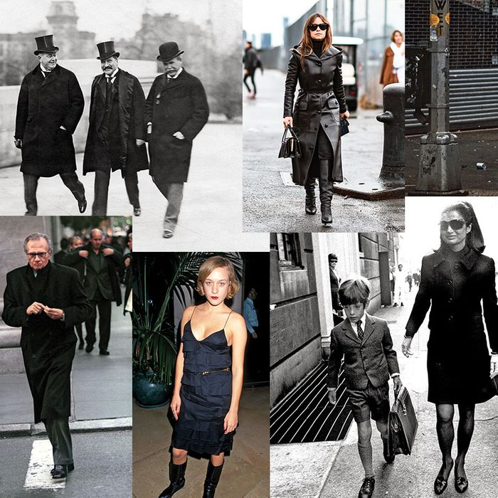 <i>Clockwise from top left:</i> New Yorkers wearing black in 1903, 2016, 1981, 2016, 1968, 2000, and 2000.