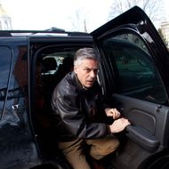 Republican presidential candidate,  former Utah Gov. Jon Huntsman arrives at a campaign stop in Eagle Square on January 09, 2012 in Concord, New Hampshire.