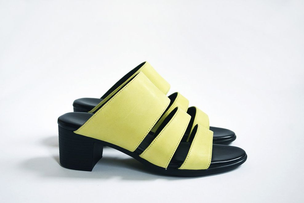 Three-Strap Sandal — Chartreuse