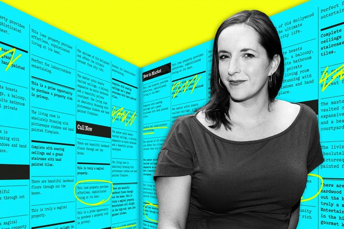 A woman against a bright blue and yellow background.