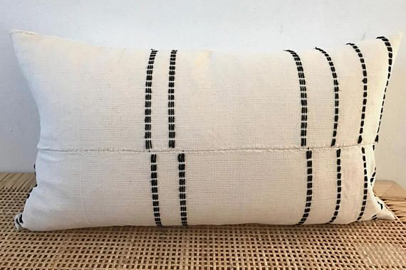 African Mudcloth Embroidered Pillow