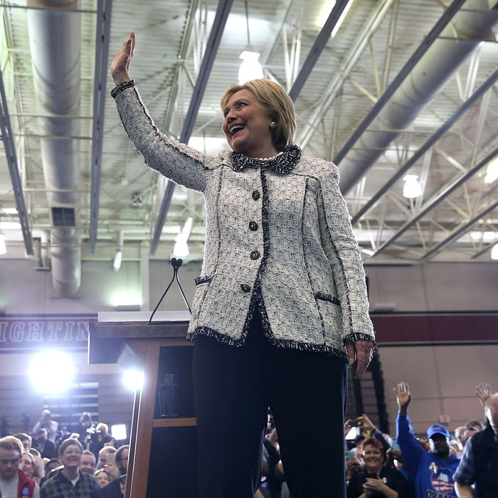 Hillary Clinton greets supporters during her primary night gathering on February 27 at the University of South Carolina.