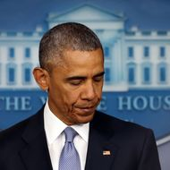 US President Barack Obama makes a statement on the Brady Briefing room at the White House April 23, 2015 in Washington, DC.