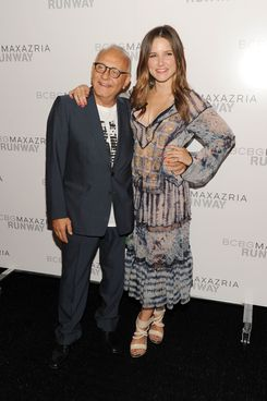 NEW YORK, NY - SEPTEMBER 08:  Designer Max Azria and actress Sophia Bush pose backstage at the BCBG Max Azria Spring 2012 fashion show during Mercedes-Benz Fashion Week at The Theater at Lincoln Center on September 8, 2011 in New York City.  (Photo by Jason Kempin/Getty Images for Mercedes-Benz Fashion Week)