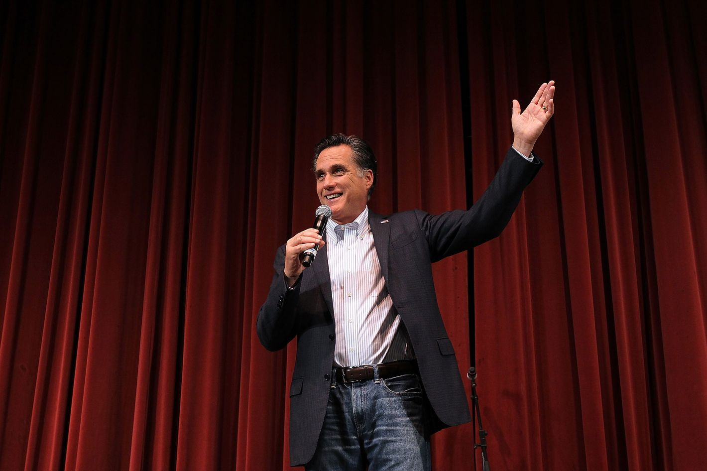Republican presidential candidate and former Massachusetts Gov. Mitt Romney speaks during a campaign rally at the Royal Oak Theatre on February 27, 2012 in Royal Oak, Michigan.