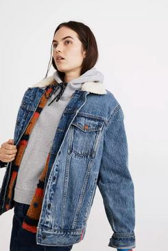 Madewell x Kule Sherpa-Lined Oversized Jean Jacket