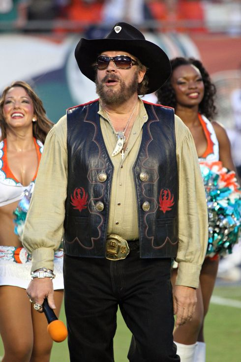 Fergie and Hank Williams Jr, before the Miami Dolphins VS New England Patriots American Football game in Miami. <P> Pictured: Hank Williams Jr <P> <B>Ref: SPL314972  120911  </B><BR/> Picture by: Mike Jachles / Splash News<BR/> </P><P> <B>Splash News and Pictures</B><BR/> Los Angeles:310-821-2666<BR/> New York:212-619-2666<BR/> London:870-934-2666<BR/> photodesk@splashnews.com<BR/> </P>