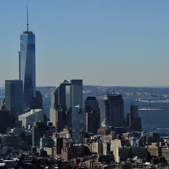 View of One World Trade Center (L), also known as the