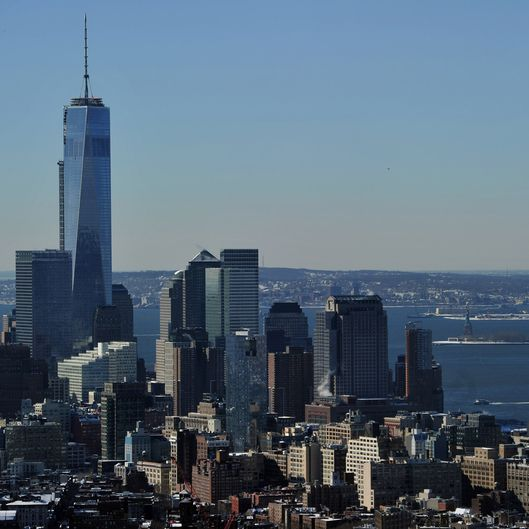 "View of One World Trade Center (L), also known as the ""Freedom Tower"" and the Manhattan skyline looking south from the Empire State Building February 14, 2014 in New York. The Statue of Liberty (R) is visible in the distance in the New York Harbor. AFP PHOTO/Stan HONDA        (Photo credit should read STAN HONDA/AFP/Getty Images)"