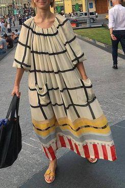 Vinkis Casual Round Neck 3/4-Sleeve Loose Plaid Maxi Dress