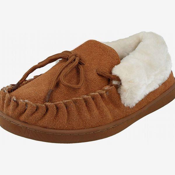 Women's Faux-Sheepskin Fur Lined Moccasin Slippers