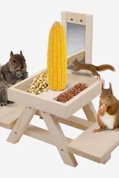 Solution4Patio Expert Squirrel Picnic Table With Mirror, Corncob Holder, and Snack Tray