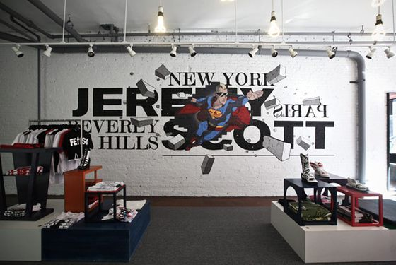 Jeremy Scott designed the 30-by-18-foot mural, depicting himself as Superman.