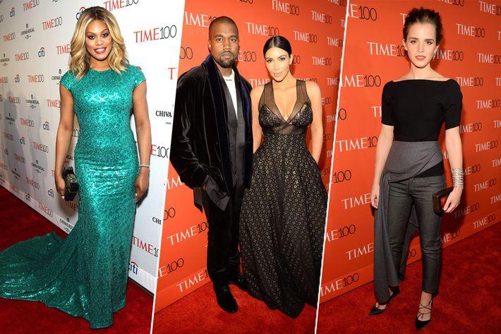 Laverne Cox, Kanye West, Kim Kardashian, and Emma Watson.