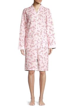 Miss Elaine Floral Quilted Zip-Front Robe