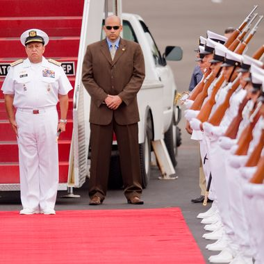 US President Barack Obama prepares to review a guard of honour upon arrival to Cartagena de Indias, Colombia, on April 13, 2012, to take part in the VI Summit of the Americas. Leaders of the 34 member states of the Organization of American States (OAS) will attend the summit to take place April 14 and 15. Summit talks will include the scourge of drugs, the return of Cuba to the Organization of American States (OAS), the Falklands-Malvinas issue and regional integration. AFP PHOTO/Alfredo Estrella (Photo credit should read ALFREDO ESTRELLA/AFP/Getty Images)