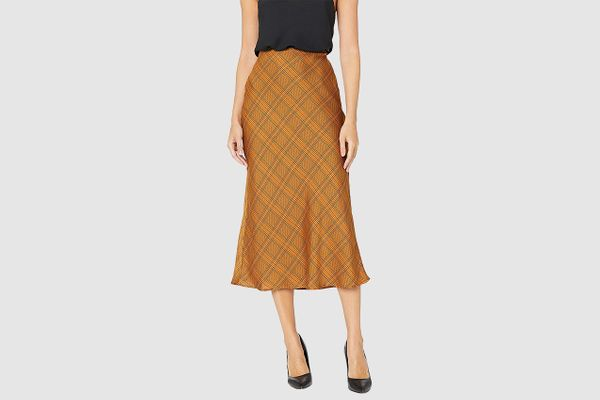 C/MEO COLLECTIVE No Time Plaid Checkered Midi Slip Skirt