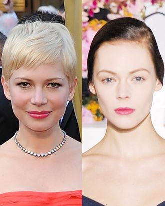 Michelle Williams, looking lovely (left), and a model from the Jil Sander show.