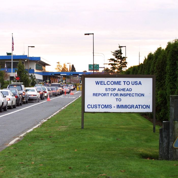 Cars wait in line at the port of entry in Blaine, Washington, at the U.S.-Canada border.