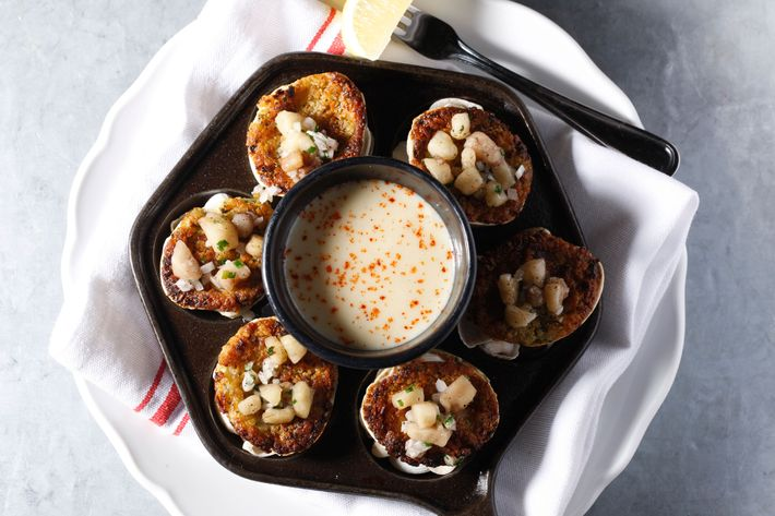 Clams casino with bone marrow and chowder.