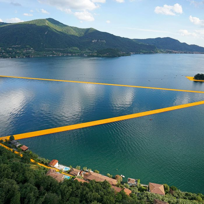 An aerial view of <i>Christo and Jeanne Claude, The Floating Piers</i>, Lake Iseo, Italy.