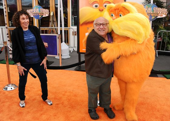 "UNIVERSAL CITY, CA - FEBRUARY 19:  Actress Rhea Perlman and actor Danny DeVito attend the premiere of Dr. Seuss' ""The Lorax"" at Universal Studios Hollywood on February 19, 2012 in Universal City, California.  (Photo by Jason LaVeris/FilmMagic)"