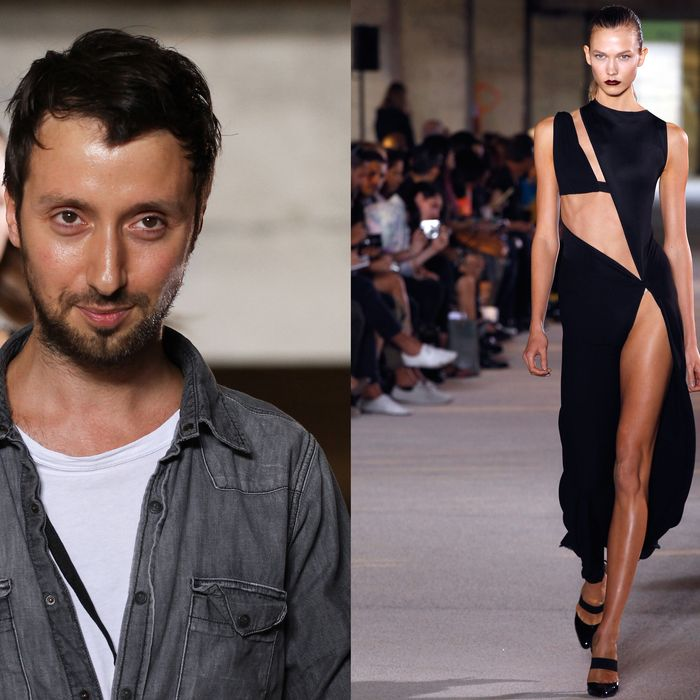 Anthony Vaccarello; Karlie Kloss walking in his spring 2012 show.