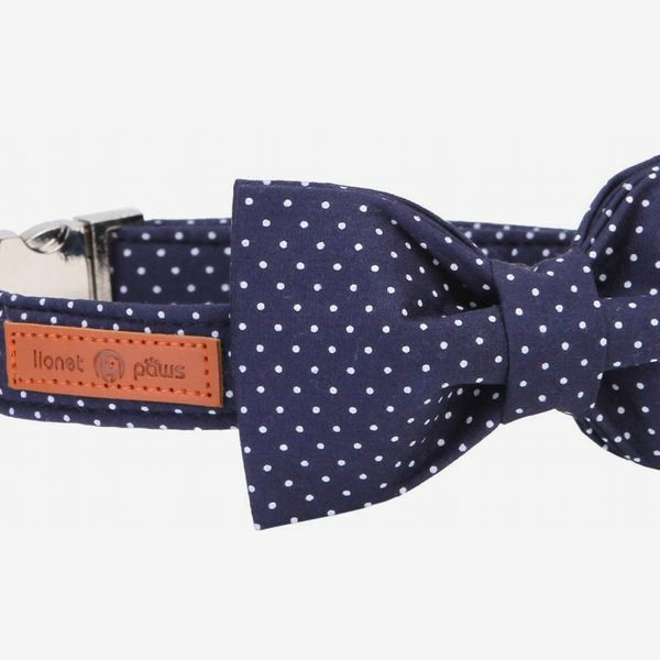 Lionet Paws Cotton Dog Collar With Bow Tie