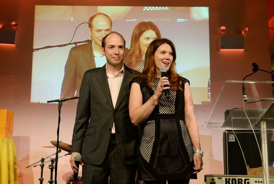 Winner Stacy Hock with her husband, Joel.