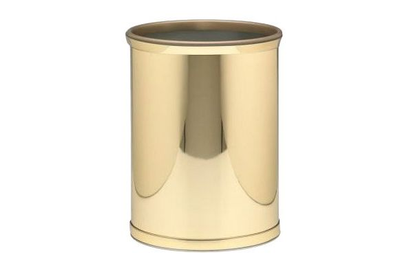Kraftware Mylar Polished Brass Waste Basket With 3/4-Inch Polished Brass Band