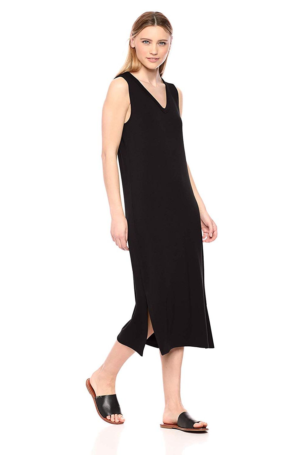 Daily Ritual Women's Supersoft Terry Sleeveless V-Neck Midi Dress