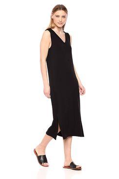 Daily Ritual Women's Supersoft Terry Sleeveless V-Neck Midi Dress