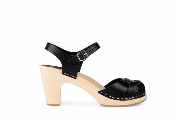 Swedish Hasbeens Peep-Toe Super High, Black