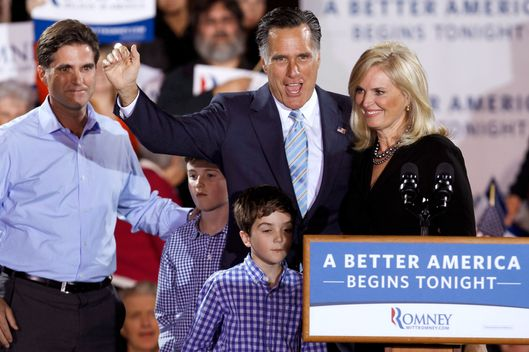 "MANCHESTER, NH - APRIL 24:  Republican presidential candidate, former Massachusetts Gov. Mitt Romney, his wife Ann Romney (R), his son Tagg Romney and some of his grandchildren wave to supporters during a campaign rally titled ""A Better America Begins Tonight"" at the Raddisson Hotel April 24, 2012 in Manchester, New Hampshire. Returning to the state where a January primary victory propelled him to front-runner status, Romney delivered remarks on the day voters in New York, Connecticut, Delaware, Rhode Island and Pennsylvania cast ballots in their state primaries.  (Photo by Chip Somodevilla/Getty Images)"