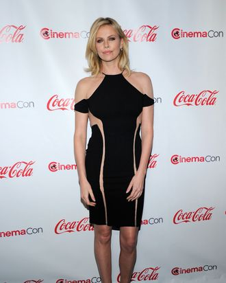 Actress Charlize Theron, recipient of the Distinguished Decade of Achievement in Film Award, arrives at the CinemaCon awards ceremony at the Pure Nightclub at Caesars Palace during CinemaCon, the official convention of the National Association of Theatre Owners, April 26, 2012 in Las Vegas, Nevada.